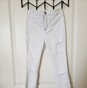 All White Hollister Jeans with distress